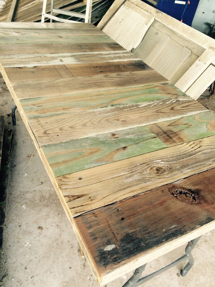 Reclaimed Wood Tabletop That Fits Over A Folding Plastic