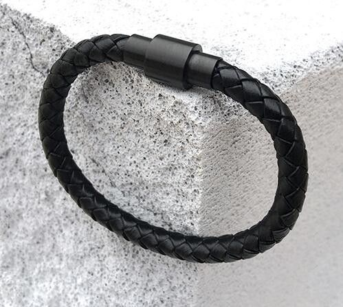 Mens All Matte Black Leather Braid Bracelet. Free Shipping.