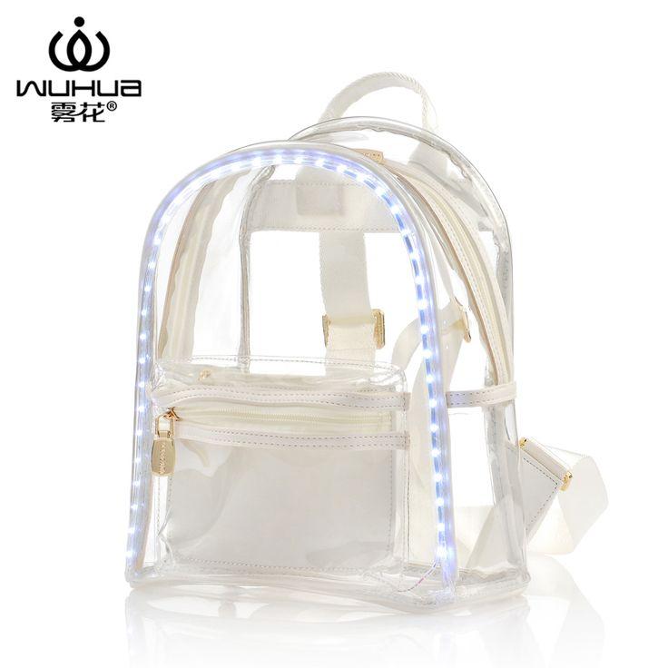 Bolsa branca e transparente com detalhes neon