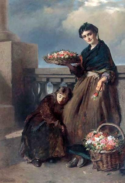 A Penny A Posy ~ Edward Charles Barnes ~ British Painter 1830-1890 ~