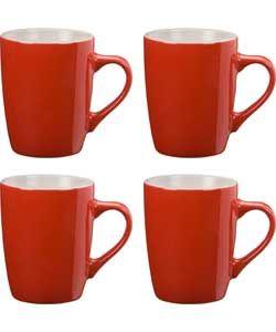 ColourMatch Two-Tone 4 Piece Mug Set - Poppy Red.