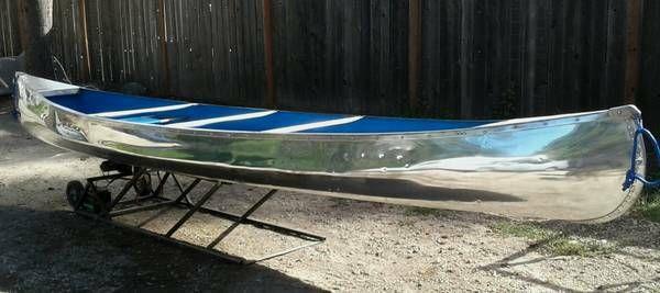 Restored aluminum canoe