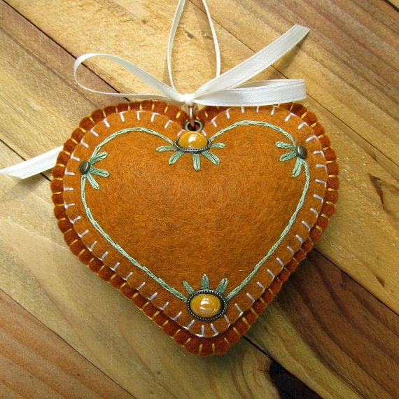 Wool Felt Embroidered Heart Ornament Hanger in by FHGoldDesigns