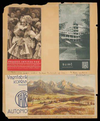 Althea Hurst scrapbook, 1938. Prague (Czech Republic), Sliac (Slovakia)