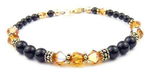 November Yellow Topaz Gold Filled Swarovski Crystal Beaded Black Pearl Bracelets - SMALL 6 1/2 In. Damali. $79.95