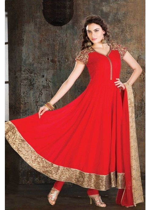 Red Georgette Anarkali Salwar Suit with Zari and Sequins Work - SL1801