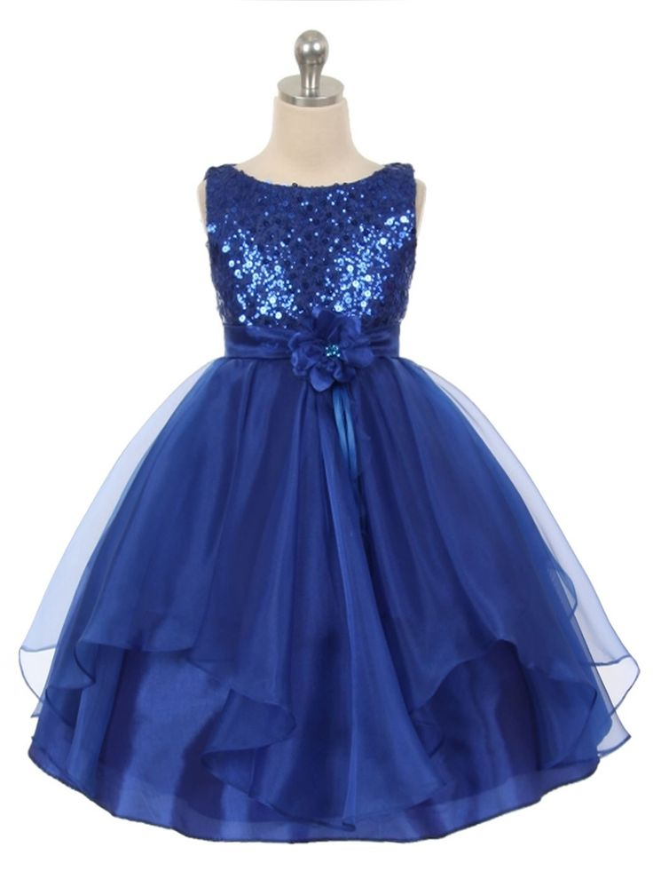 Royal Blue Sequined Bodice Organza Layered Skirt Flower Girl Dress (Available in Sizes 4-14 in 4 Colors)