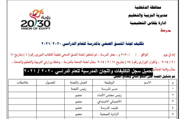 تحميل سجلات التكليفات واللجان المدرسية للعام الدراسى الجديد 2020 2021 Https Ift Tt 3iqzfmc Https Ift Tt 3d1eyfp Egypt Visions News