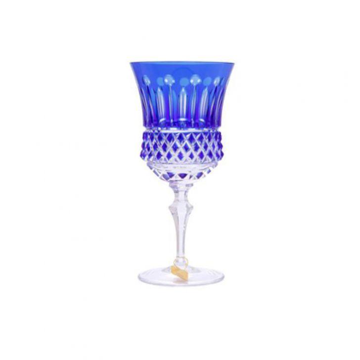 Jogo De Licoreira E Taças Strauss Cristal Lapidado Azul 7 Peças