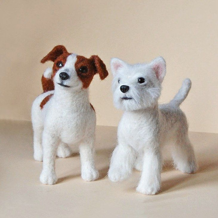 Needle felted dogs in progress by SkojSkoj