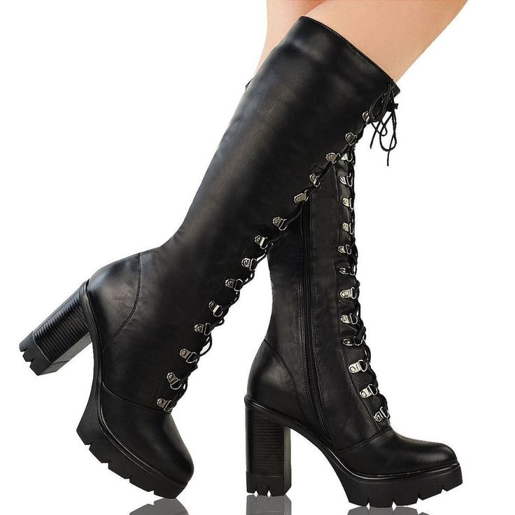 Ladies Womens Knee High Boots Chunky Platform Goth Combat Lace Up Grip Sole Size | Clothing, Shoes & Accessories, Women's Shoes, Heels | eBay!