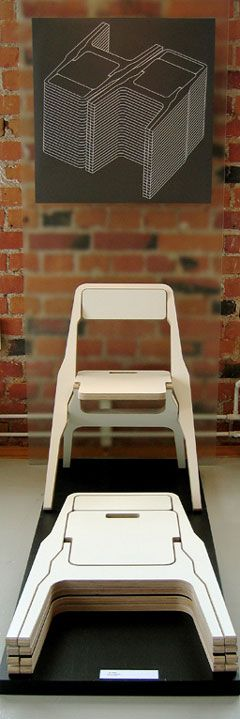 "The 2F Folding Chair is so named because it has a profile of less than an inch, and a different appearance on each side. Designed by Hannu Kähönen, the birch plywood chair can be stored completely flat, and generates virtually no waste wood during production.It's scheduled for release this spring from Martela.""I wanted to keep it very simple, with few mechanical parts, so that when it's flat it looks like a graphic outline more than a chair."""