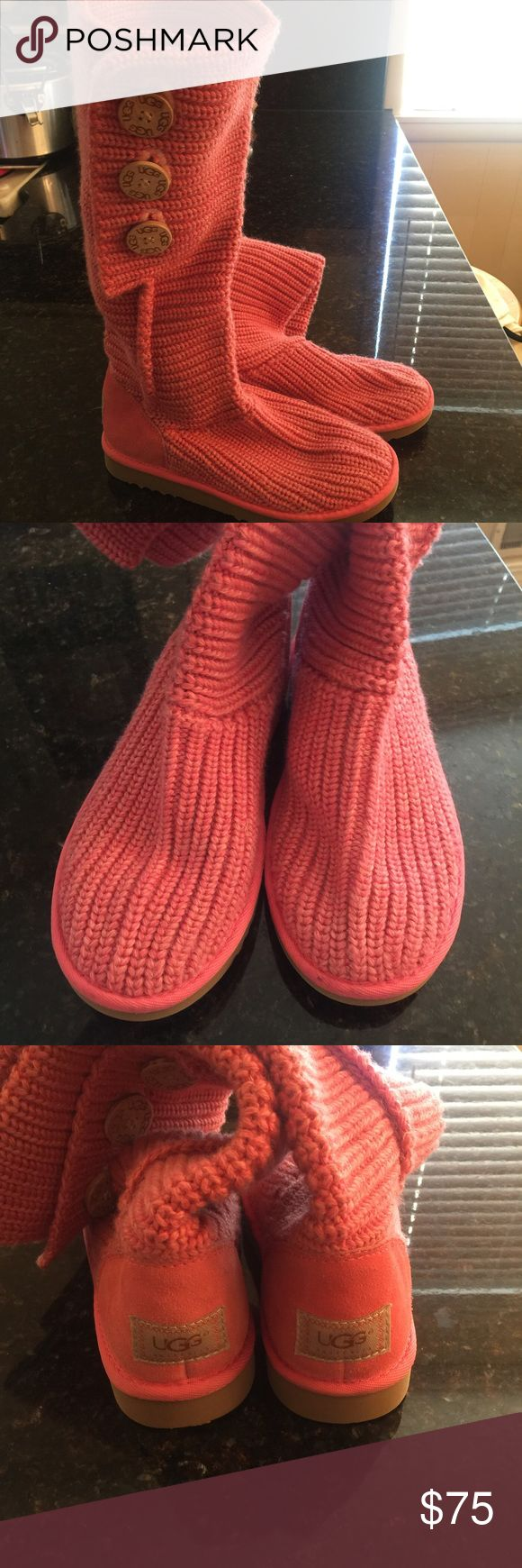 UGG Classic Cardy Sweater Women's Boots sz 7 Pink Adorable pink sweater UGGS perfect in spring & summer. light weight and comfortable all year round. Very little wear, looks new. UGG Shoes Over the Knee Boots