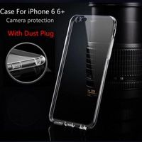 Ultra Thin Soft TPU Transparent Clear Skin Case Cover For iPhone 6 6s plus Silicone Cell Phone Cases with Anti-Dust Plug