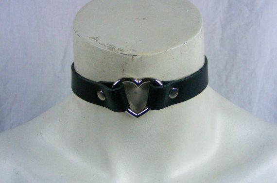 Choker Genuine Leather  Black Heart Choker with by StarCreationsCa