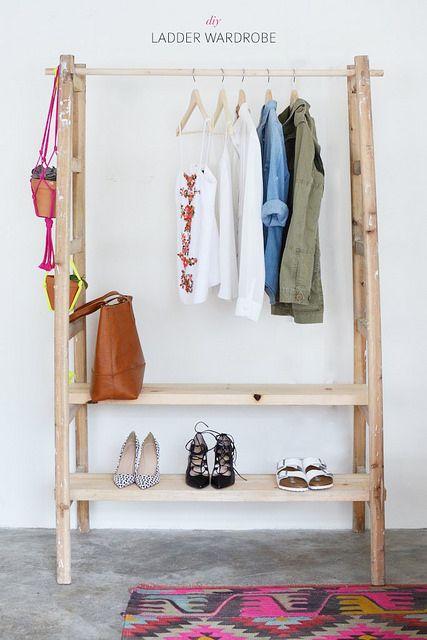DIY - Ladder Wardrobe. Make a wardrobe using a ladder from A Pair & A Spare. #diy #ladder #wardrobe