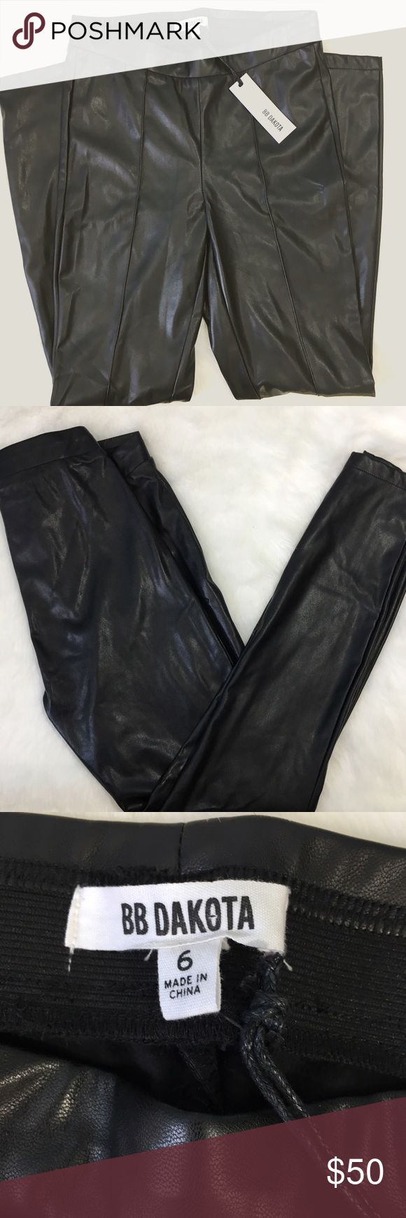 NWT BB Dakota Vegan Leather Leggings Perfect NWT condition, seams to front, ankle length. Look like leather, guilt free! Soft interior, NOT the sticky kind of faux leather! BB Dakota Pants Leggings