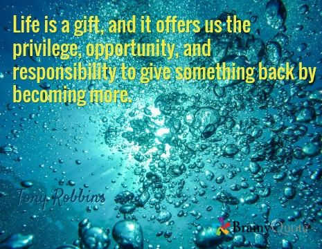 Life is a gift, and it offers us the privilege, opportunity, and responsibility to give something back by becoming more. / Tony Robbins