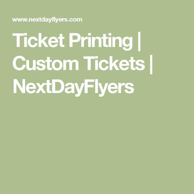 Ticket Printing | Custom Tickets | NextDayFlyers