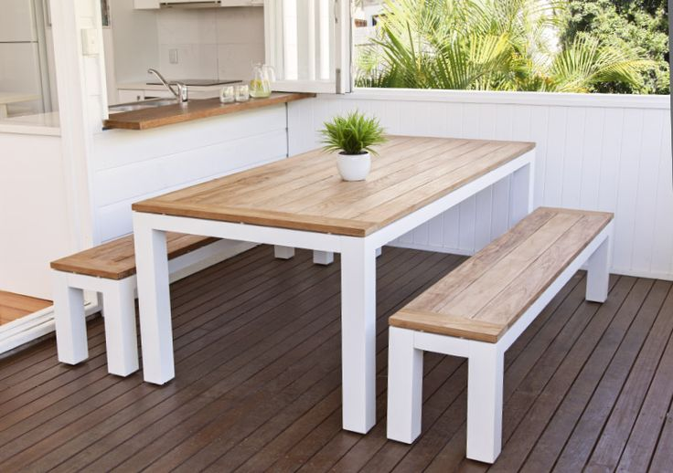 3pce Sense Bench 220x100 Shell/Teak - The Outdoor Furniture Specialists