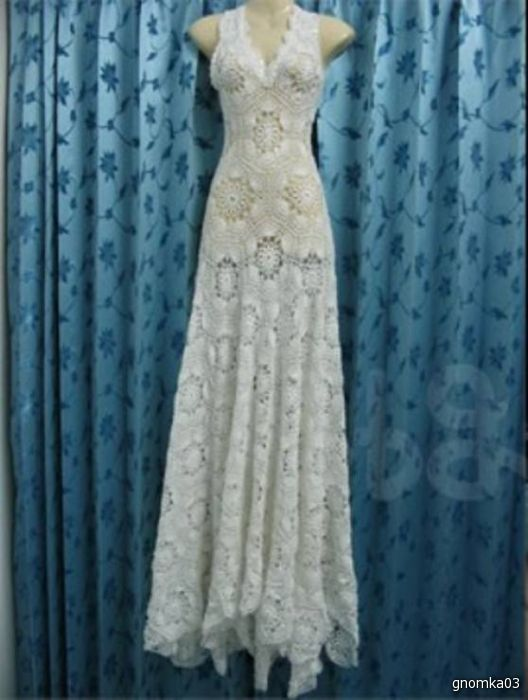 wedding gown made out of one crochet motif!  - with diagram