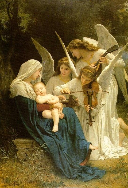 < 천사들의 노래 >, 부게로, 1881. 엄마가 아기를 재우다가 깜빡 잠이 들었나보다. 아가도 쌔근쌔근 잠이 들었고, 천사들이 와서 노곤하 엄마를 대신해 아가에게 노래를 들려주는 것 같다. 자장가.