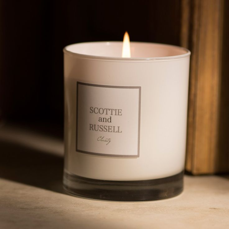 Buy the Clarity Luxury Scented Candle from our Scottie and Russell candles and fragrance range £25.00 30cl White Glass 40 hour burn time. Free delivery on orders over £25.00!