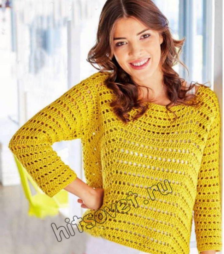 Летний пуловер крючком, фото.