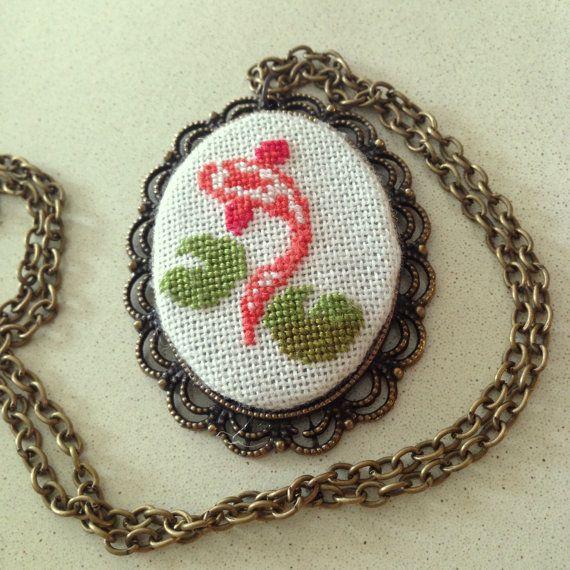 Cross stitch pendant  Koi Brass setting  by BlackCatHandmadeShop