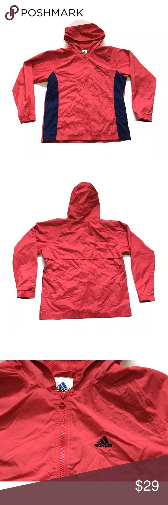 Adidas Windbreaker Jacket Zip Up Red Medium PLEASE NOTE- Small spot on wrist SHOWN IN PHOTO 6 & zipper is loosing color SHOWN IN PHOTO 5  Adidas Womens Windbreaker Jacket Zip Up Hooded Pockets Red Navy size Medium  Length, Shoulder to Bottom: 25 1/4 inches Armpit to Armpit: 21 3/4 inches Armpit to end of Sleeve: 20 1/2 inches  Inventory# AO15 adidas Jackets & Coats