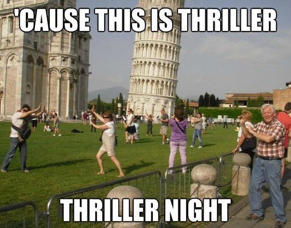 Thriller NightLaugh, Thrillers, The Tourist, Take Pictures, Zombies Apocalyps, Michael Jackson, Funny Photos, Funny Commercials, Lean Towers
