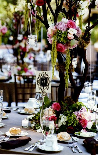 Natural Tree Branches for centerpieces.. flowers/ peacock feathers...hanging tea lights...or string lights