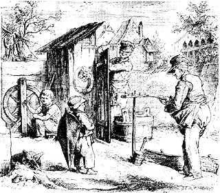 Ropemaking fábrica com um menino com sua pipa pear-ponta