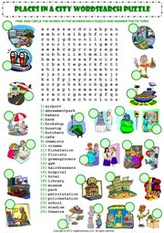 places in a city wordsearch puzzle vocabulary worksheet icon esl word puzzles spelling. Black Bedroom Furniture Sets. Home Design Ideas