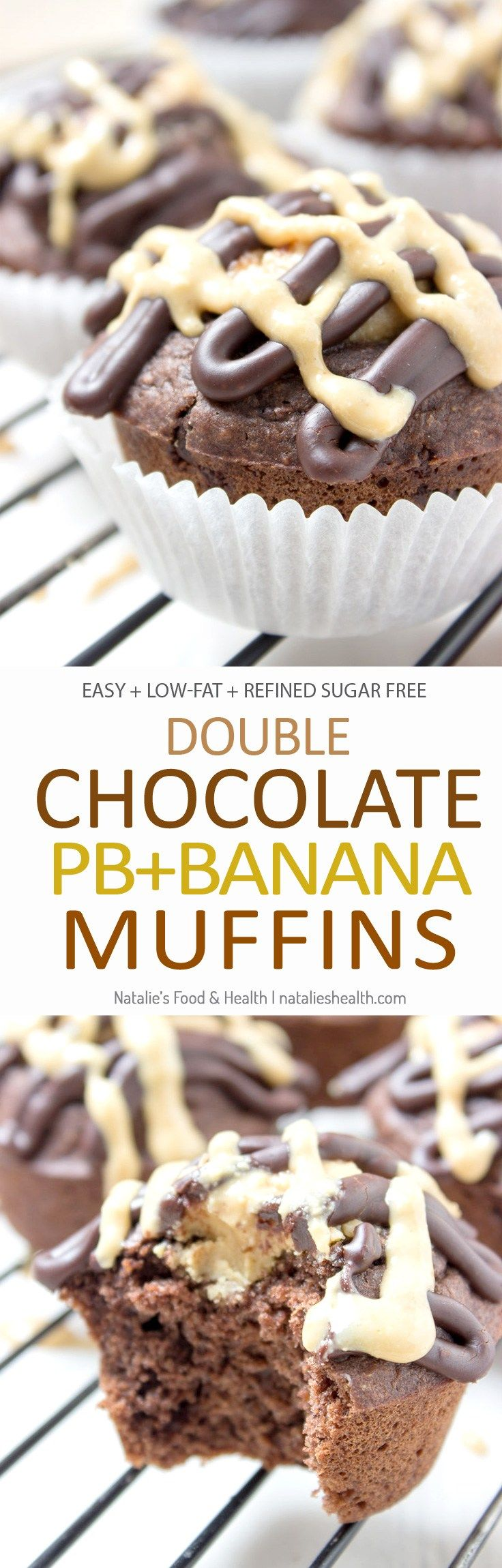 Double Chocolate Banana Muffins made with all HEALTHY ingredients, refined sugar-free, filled with dark chocolate and peanut butter. Perfect afternoon dessert, kids school snack or quick breakfast. CLICK to read more or PIN for later! [natalieshelath.com]