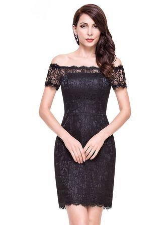 Sheath/Column Off-the-Shoulder Short/Mini Lace Cocktail Dress