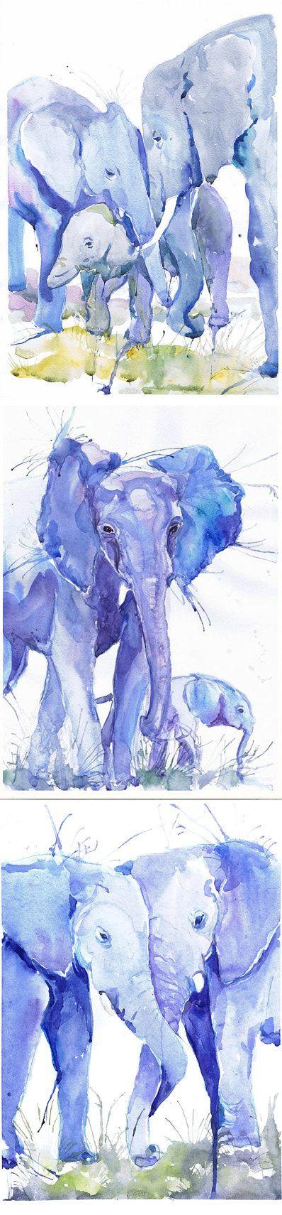 Olifant kunst olifant aquarel jongen kwekerij decor door ValrArt