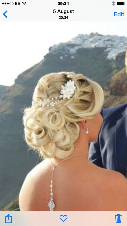 Wedding hair up do by Helen savva santorini weddings