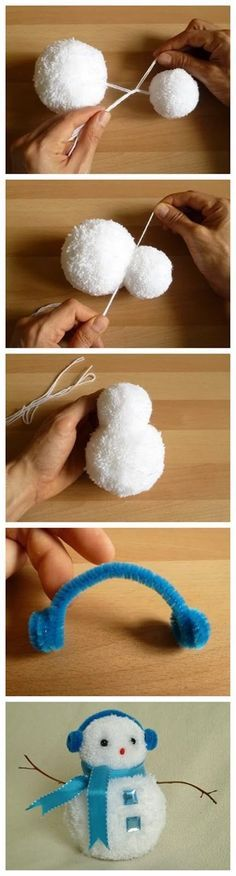 Cute Christmas Craft for the Kids. Pompom Snowman. Great tutorial.
