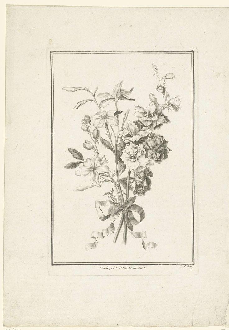 Boeket van jasmijn en ridderspoor, Jean Jacques Avril (l'Aîné), Jean Baptiste Monnoyer, Jacques-François Chéreau, 1754 - 1794