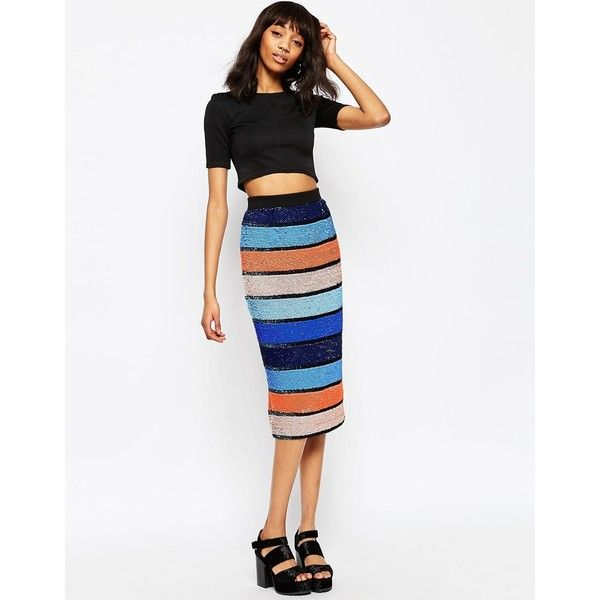 ASOS Midi Pencil Skirt in Allover Embellished Stripe ($65) ❤ liked on Polyvore featuring skirts, multi, white skirt, white high waisted skirt, striped midi skirt, pencil skirt and high-waisted pencil skirts