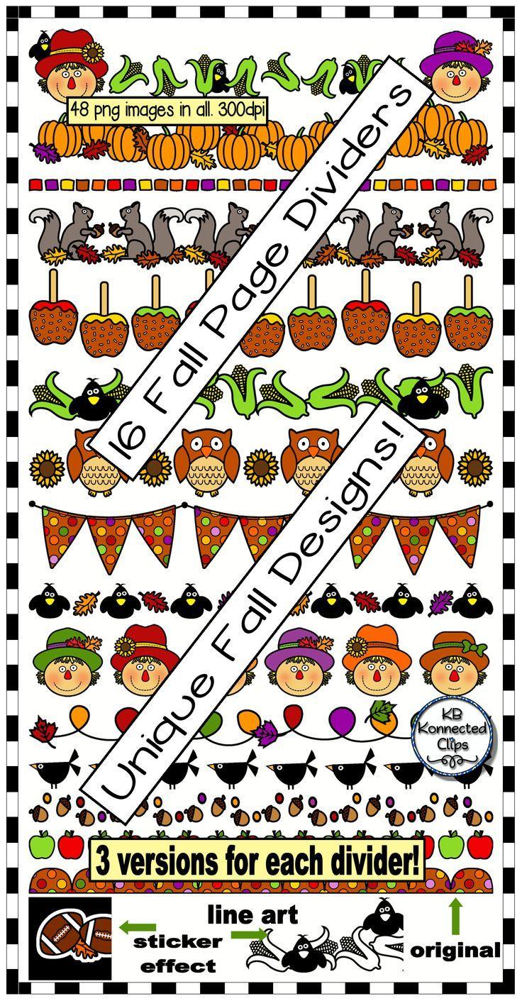 16 Interesting Nail Tutorials For Short Nails: 16 Fun Fall Page Dividers! Scarecrows, Football, Caramel