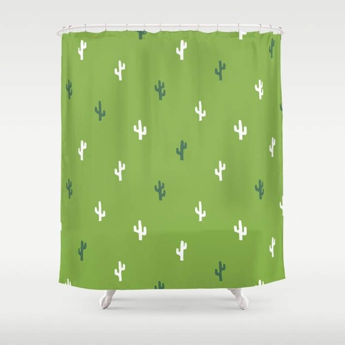 Cactus Shower Curtain in Green, Green Tropical Desert Bathroom Decor, Washable Standard and Extra Long Shower Curtain, Kids Shower Curtain by RiverOakStudio on Etsy https://www.etsy.com/listing/522306019/cactus-shower-curtain-in-green-green
