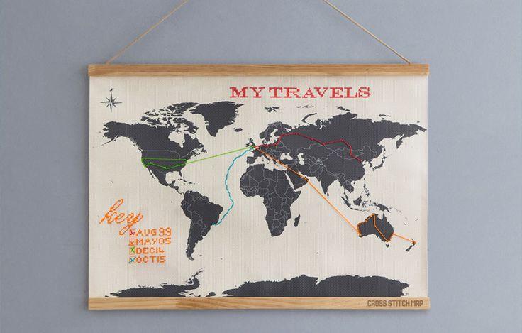 Cross Stitch Map : Sew your way around the world.