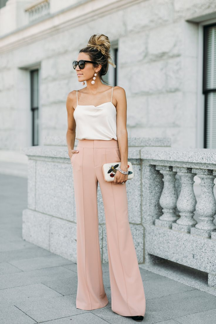 Wide leg pants + cami.