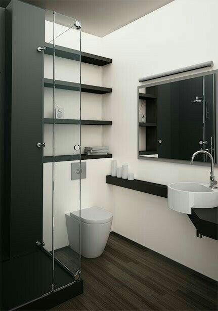 Sala de baño en cristal, decoracion blanco y negro. (bathroom with glass decoration in white and black)