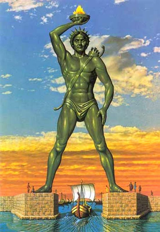 Colossus of Rhodes, Greece. As it would have looked. It was one of the seven wonders of the world..