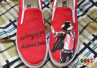 2013 hot sell hand-painted shoes Michael Jackson red shoes $1201,63