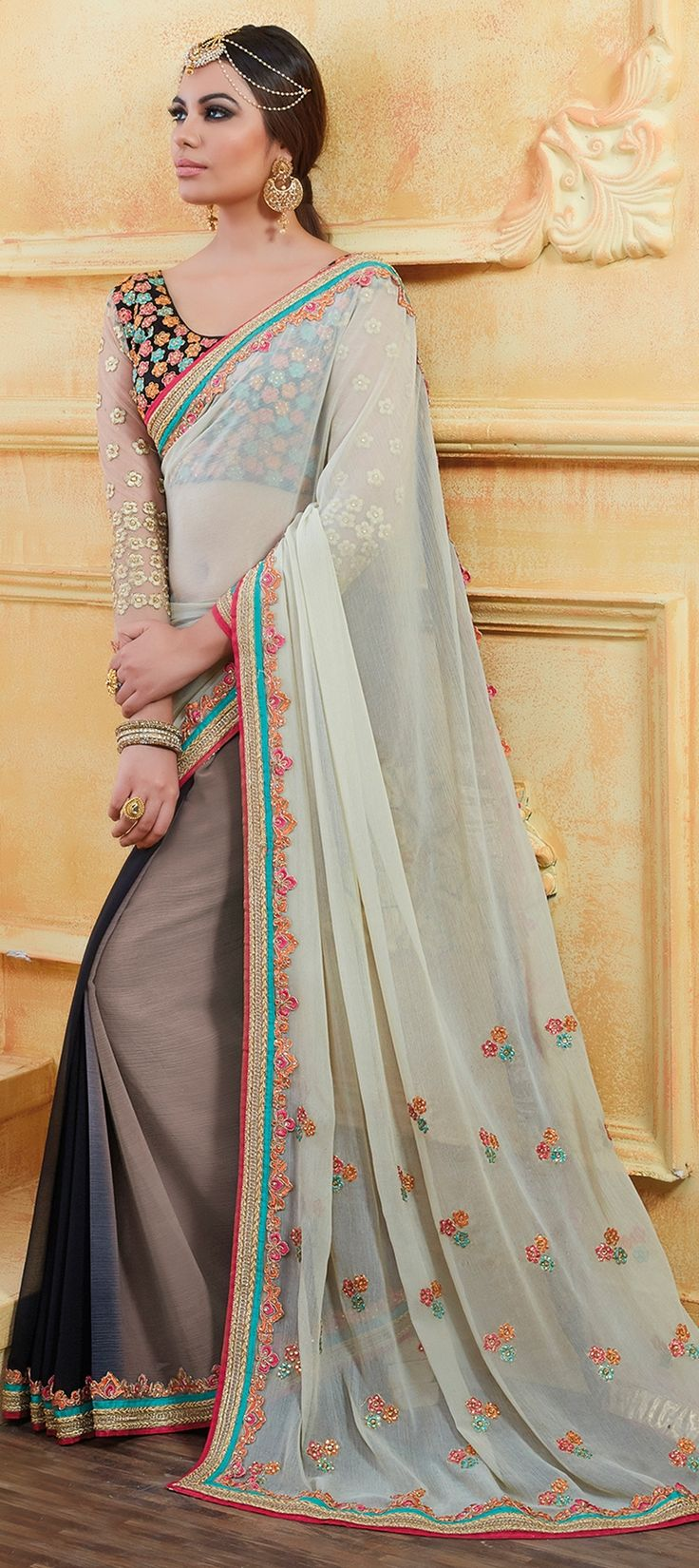 752805 Beige and Brown, White and Off White color family Embroidered Sarees, Party Wear Sarees in Georgette fabric with Lace, Machine Embroidery, Resham, Thread work with matching unstitched blouse.