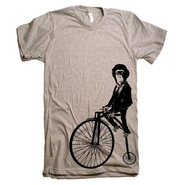 Men's Monkey on a Bike T Shirt  American Apparel  XS by lastearth, $21.00